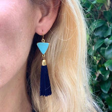 Load image into Gallery viewer, Gold and Turquoise Triangle Tassle Earrings - Starfish Project