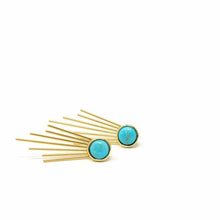 Load image into Gallery viewer, Gold and Turquoise Sunburst Stud Dangle Earrings - Starfish Project