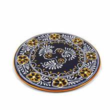 "Load image into Gallery viewer, Handmade Pottery 8"" Trivet or Wall Hanging, Blue - Encantada"