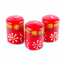 Load image into Gallery viewer, Hand Painted Candles in Red Masika Design (box of three) - Nobunto