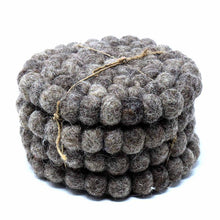 Load image into Gallery viewer, Hand Crafted Felt Ball Coasters from Nepal: 4-pack, Dark Grey - Global Groove (T)