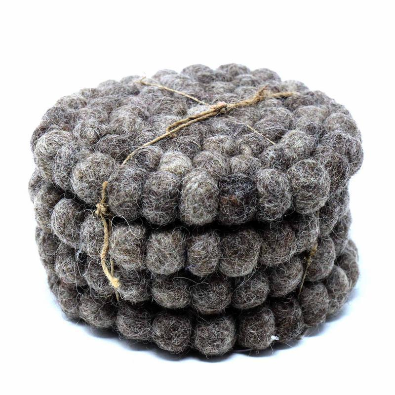Hand Crafted Felt Ball Coasters from Nepal: 4-pack, Dark Grey - Global Groove (T)