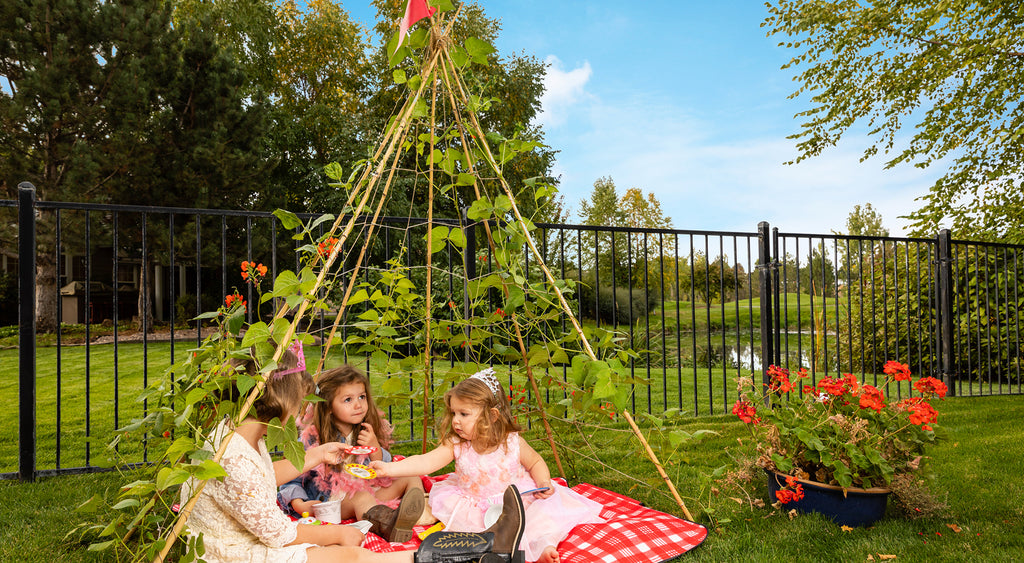 kids play date princess birthday tea party inside bean teepee and backyard play tent with picnic blanket