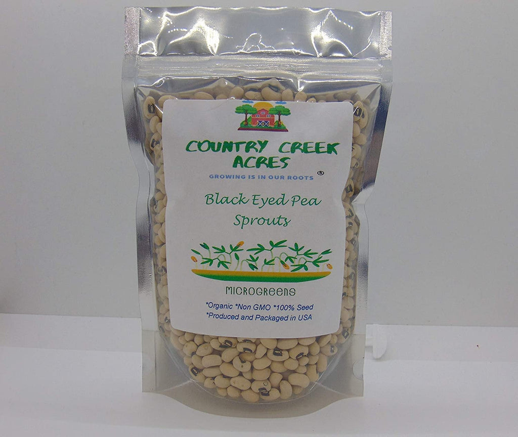 Black Eyed Pea Seed, Microgreen, Sprouting, Organic Seed, NON GMO - Country Creek LLC Brand - High Sprout Germination- Edible Seeds, Gardeni