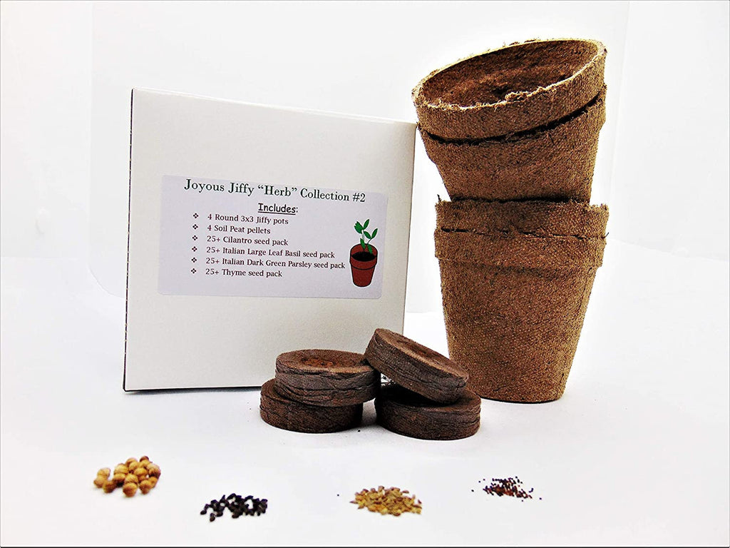 "Joyous Jiffy ""Herb"" Collection #2-(2) Round 3x3 Jiffy pots,(2)Soil Peat Pellets(1)25  Cilantro Seed pk(1)25  Italian Large Leaf Basil Seed p"