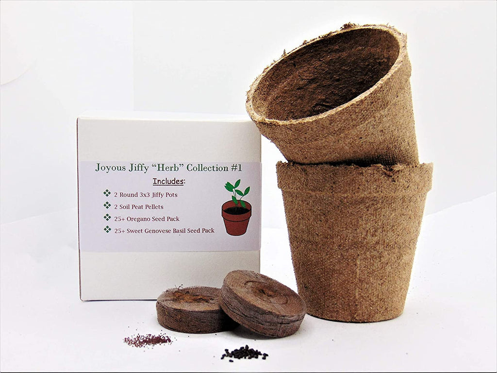 "Joyous Jiffy""Herb"" Collection #1 - (2) Round 3x3 Jiffy pots, (2) Soil Peat Pellets, (1) 25  Oregano Seed Pack and (1) 25  Sweet Genovese Bas"