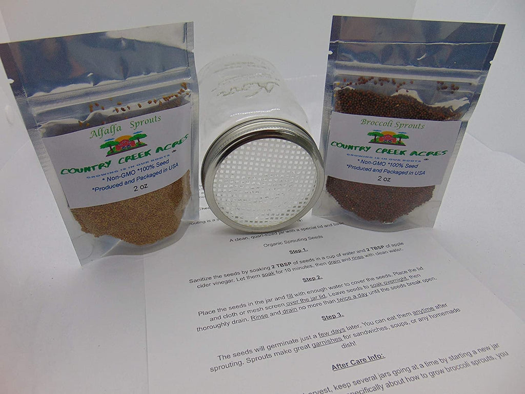 Sprouting Kit with 2 Sprout Screens, Alfalfa Seeds, Broccoli Seeds, Information Sheet All About Sprouts, Directions