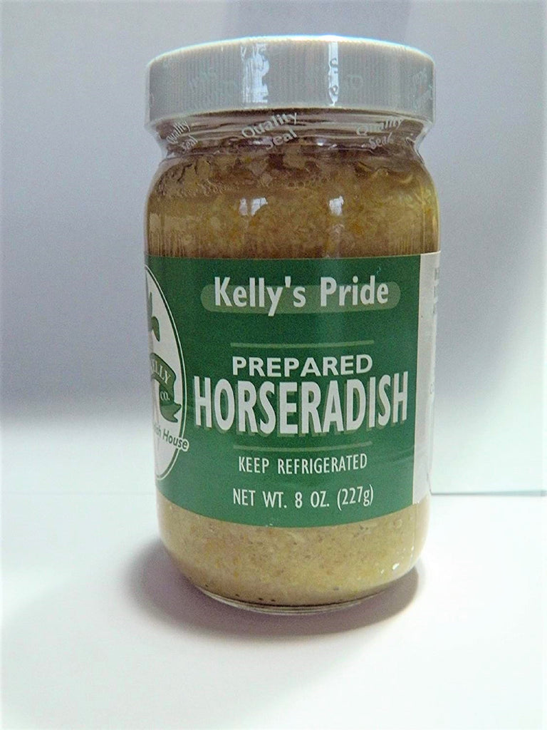 Kelly's Pride - 12 Pack Prepared Horseradish- 8 oz Jars- Horseradish is made from 100 Percent Fresh Grated Horseradish Root!