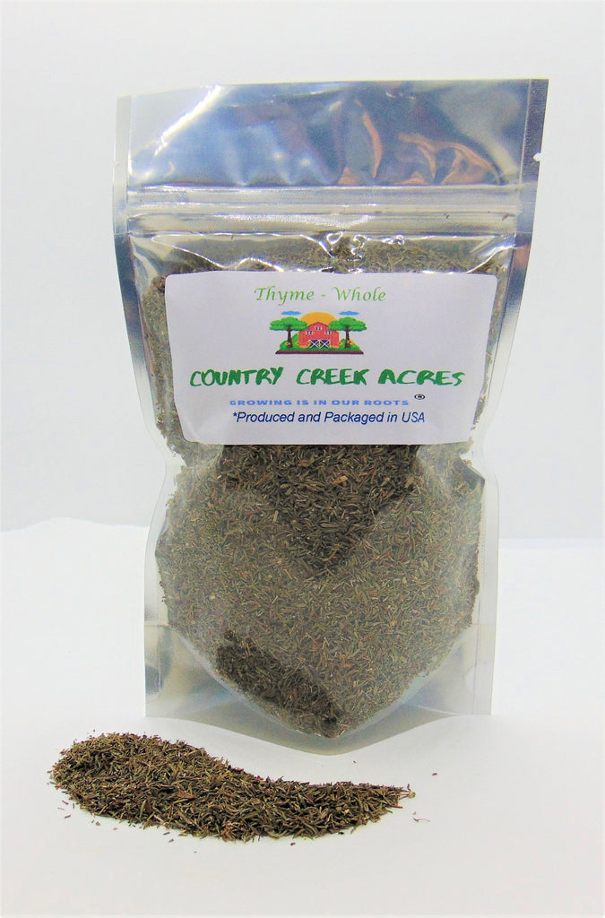 Whole Thyme Leaves, Dried & Chopped - An earthy herb with a little bit sweet and slightly minty taste. - Country Creek LLC
