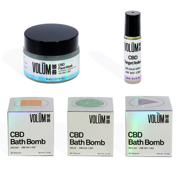 Volūm Collection: 3 CBD Bath Bombs, CBD Target Roller, and CBD Repairing Face Mask. - volumcbd