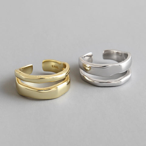 Minimalist Double Lines Ring -Make the difference with Galatea Effect accesories