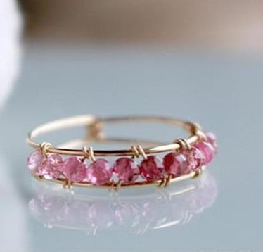 Gold Filled Handmade Ring with Pink Natural Stone -Make the difference with Galatea Effect accesories