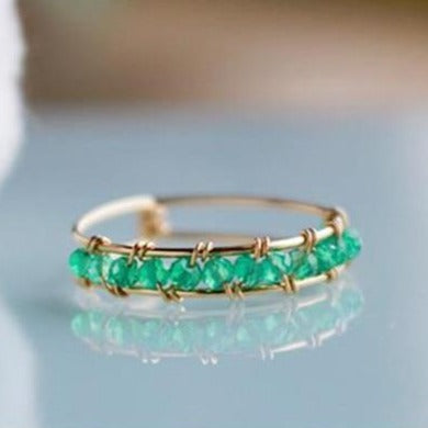 Gold Filled Handmade Ring with Green Natural Stone -Make the difference with Galatea Effect accesories