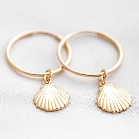 Handmade Gold Hoop Earrings with pendant Shell -Make the difference with Galatea Effect accesories