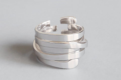 Multi-layer Geometric Irregular Ring -Make the difference with Galatea Effect accesories