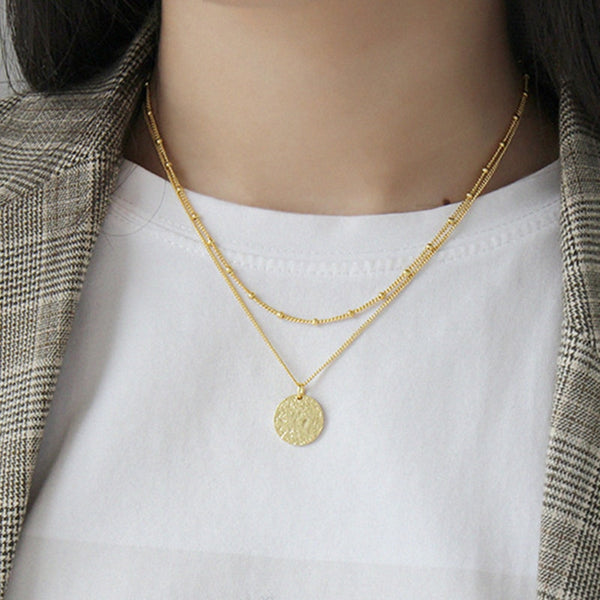 Textured Coin Necklace -Make the difference with Galatea Effect accesories