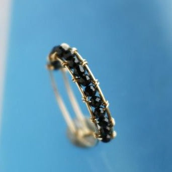 Gold Filled Handmade Ring with Black Natural Stone -Make the difference with Galatea Effect accesories