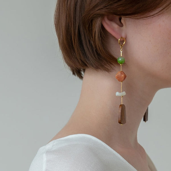 Stones Long Dangle Earrings -Make the difference with Galatea Effect accesories