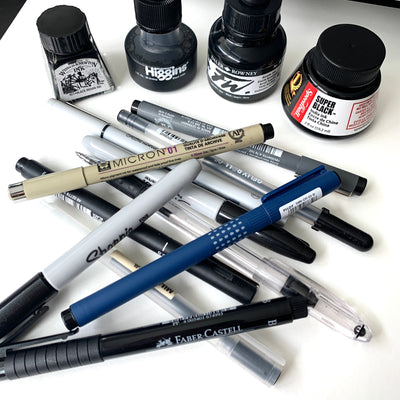 How to Choose a Black Fineliner or Ink for Watercolour: A Review
