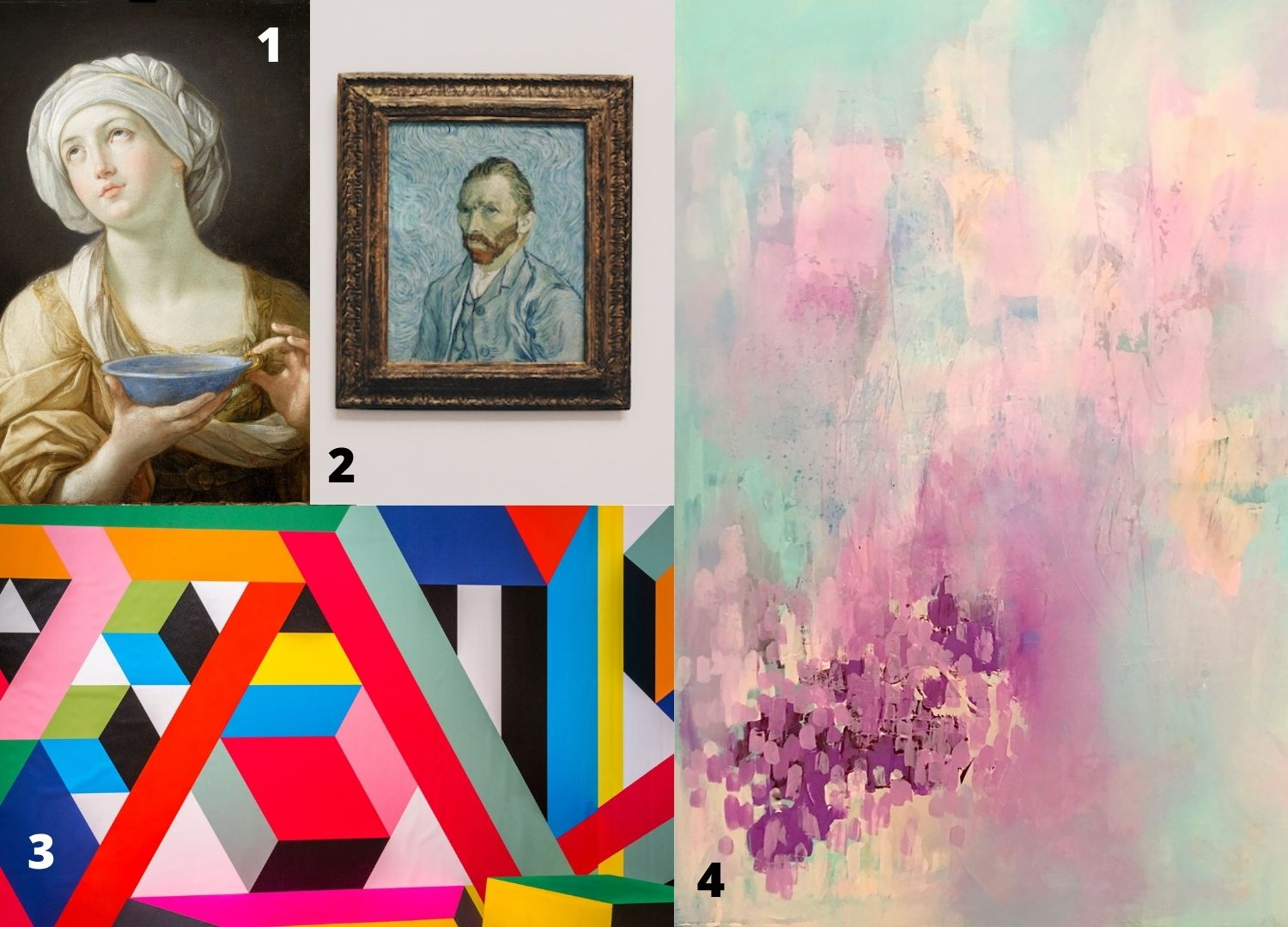 4 different art styles put together in a collage, modern art, abstract, realism, van gogh