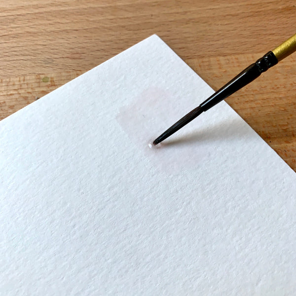 Close up of brush adding clean water to paper