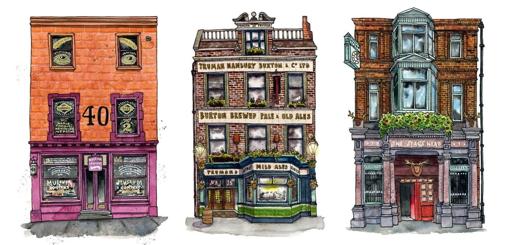 Three watercolour and ink buildings in a row