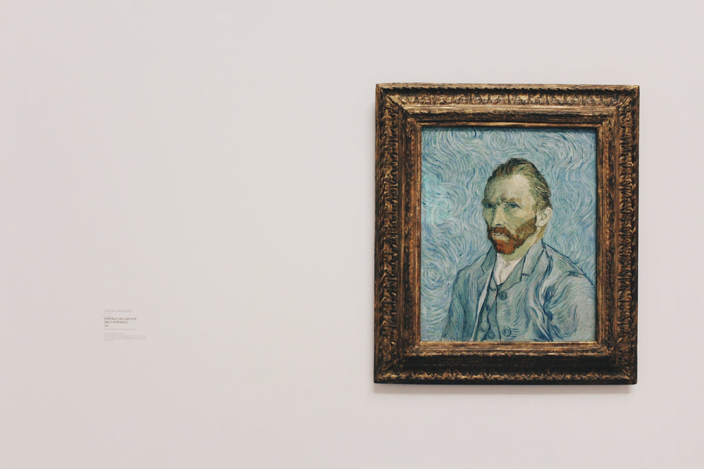 Off center image of an old self portrait painting of Van Gogh