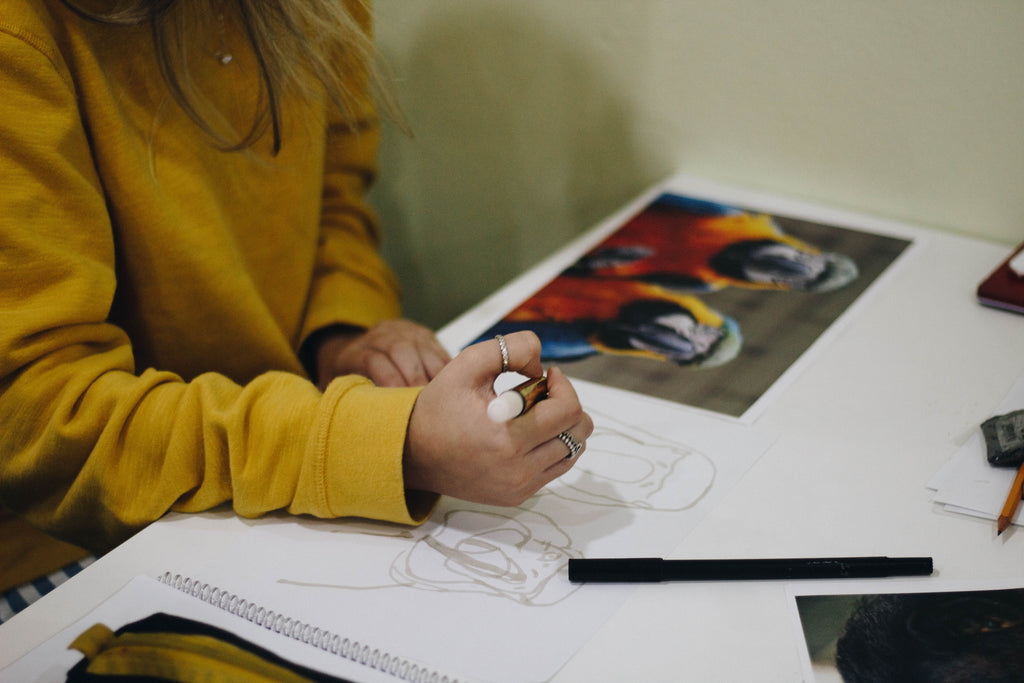 Thiago Barletta Image Unsplash - Image of woman trying to draw a picture of 2 parrots