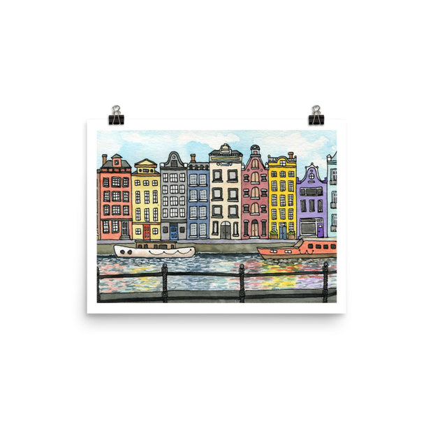 Along the Canal | Amsterdam Watercolour Art Print