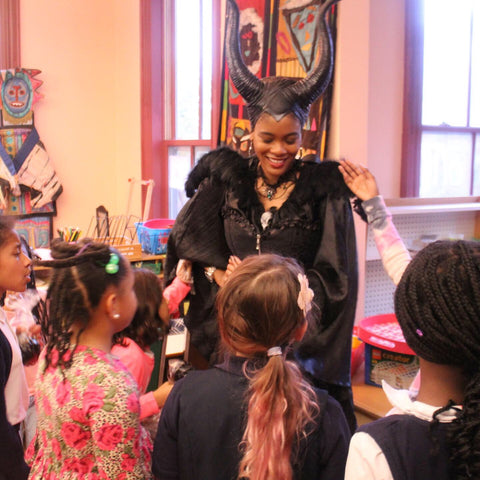 Netia, dressed here as Maleficent, inspired students to explore STEM through 3D Printing and Chocolate. [October 2019]