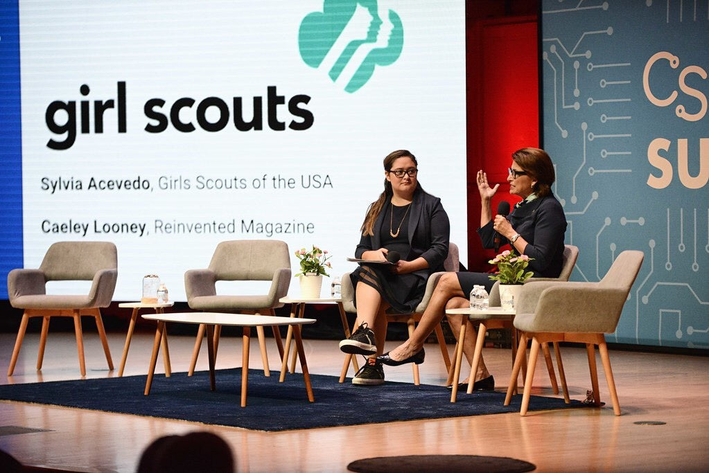 Caeley Looney, founder of Reinvented Magazine, is speaking on a panel with Sylvia Acevedo, Girls Scouts of USA