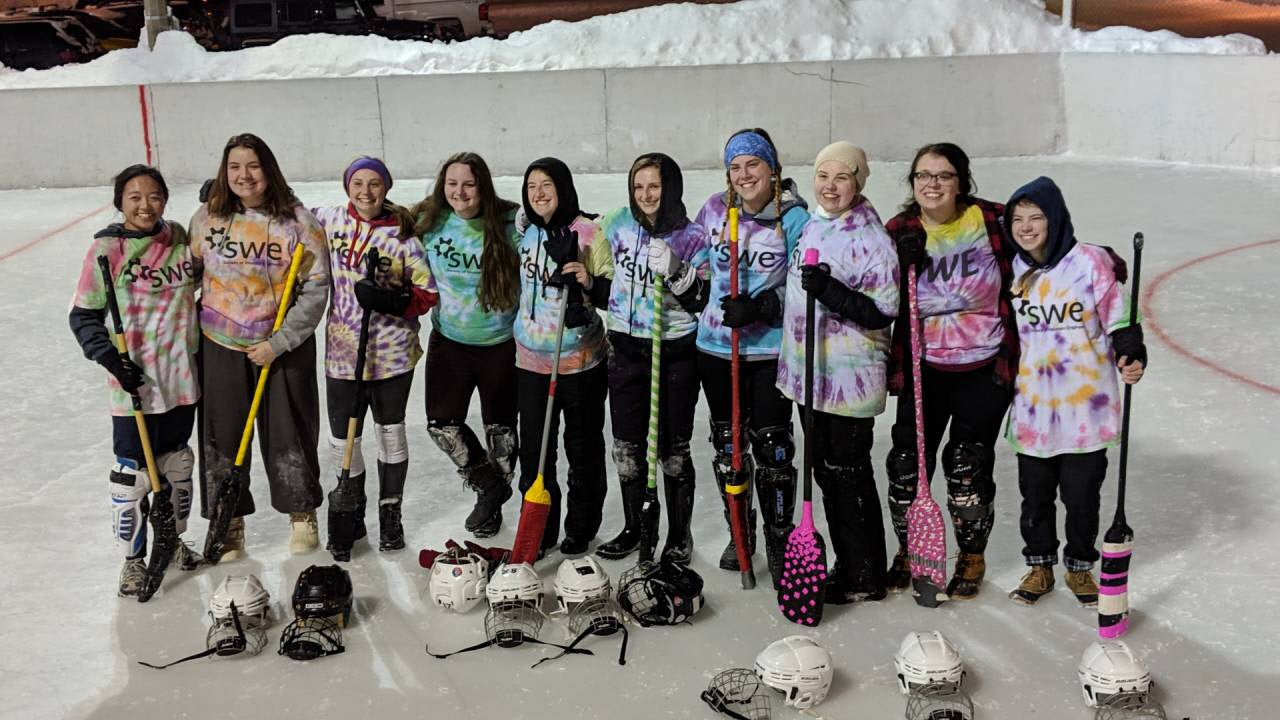 Katy Pioch and the Michigan Tech SWE chapter playing broomball