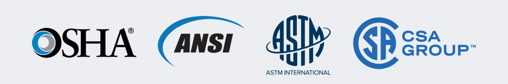 OSHA, ANSI, ASTM, CSA Group logos