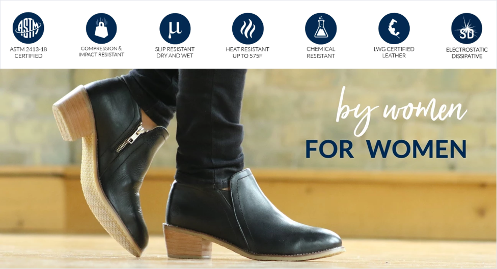 Xena Workwear steel-toe shoes are designed for women by women