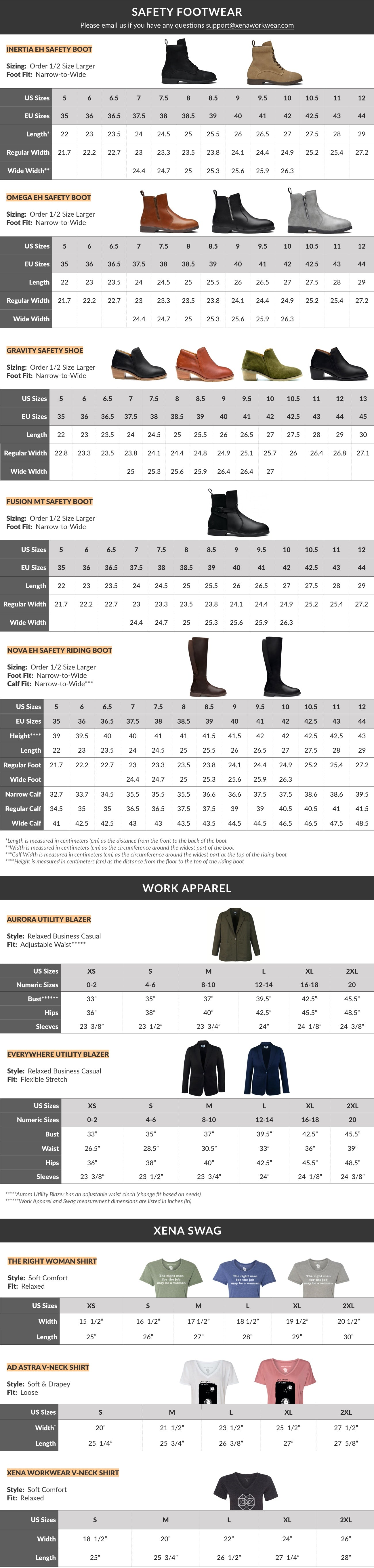 Xena Workwear Size Guide for Women's Steel-Toe Safety Shoes, Boots, Booties, Blazers, and Shirts