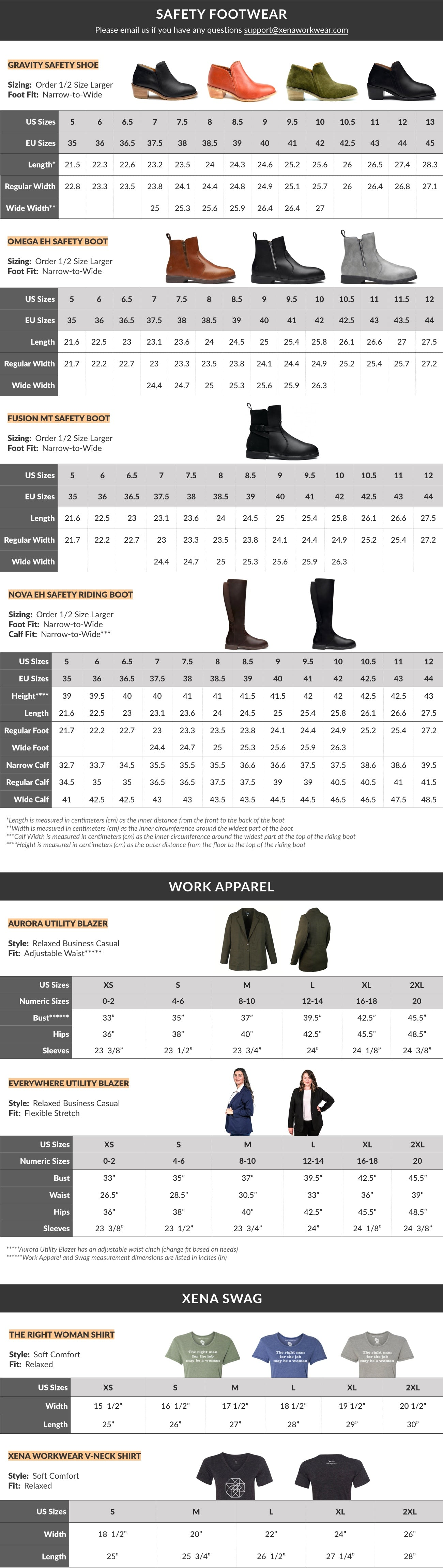 Size Guide for our Women's Steel-Toe Safety Shoes, Booties, Boots, Utility Blazers, and Shirts | Xena Workwear for Women