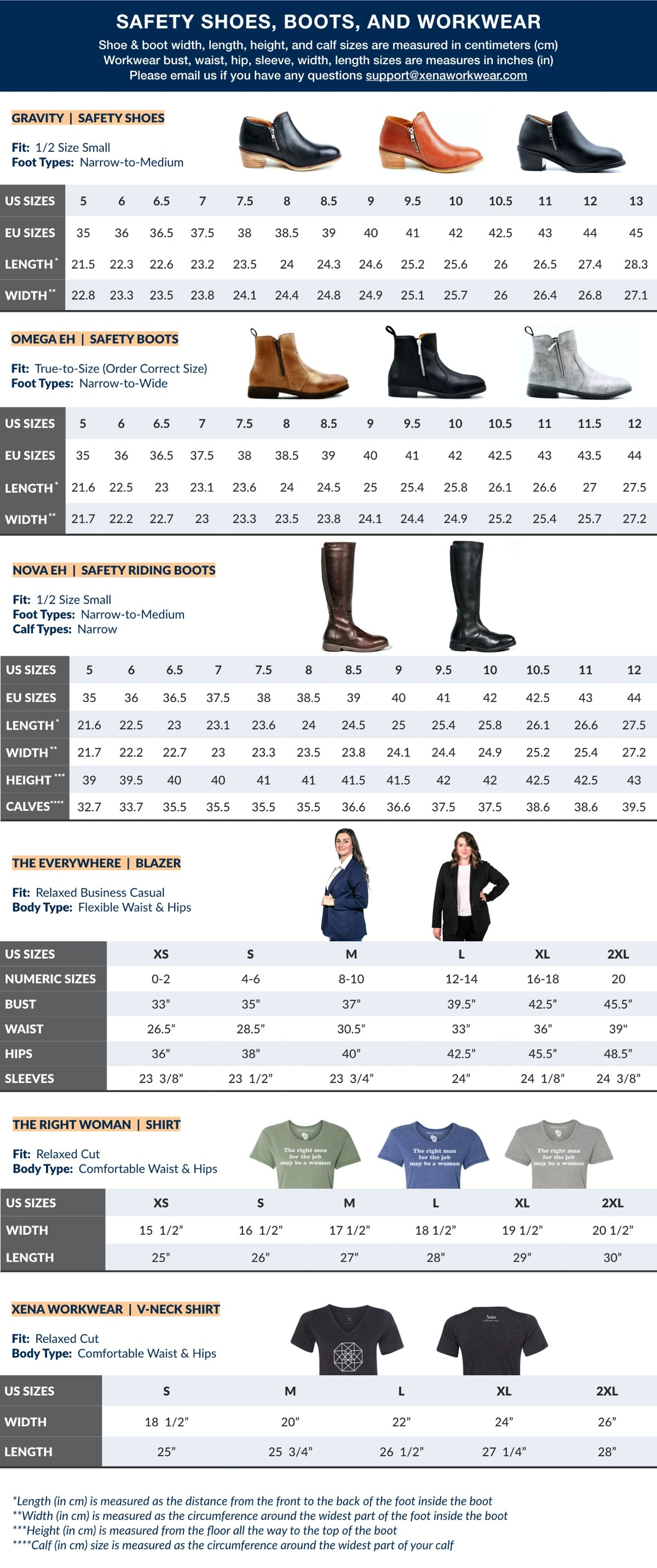 Size Guide for our Women's Steel-Toe Safety Shoes, Booties, Boots, and Shirts | Xena Workwear