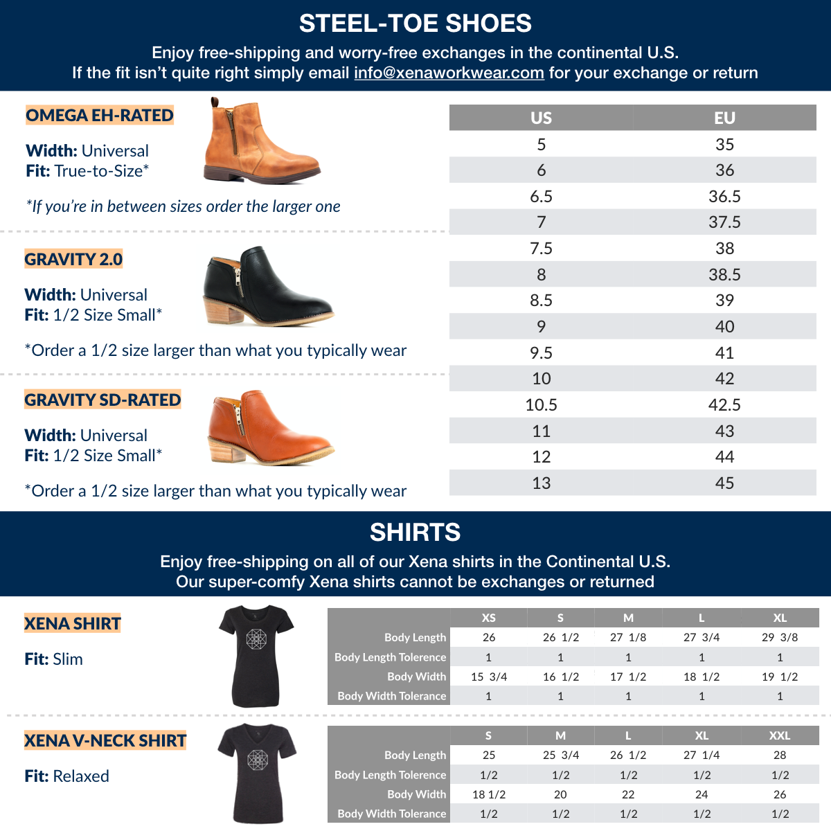 Xena Workwear Product Size Guide