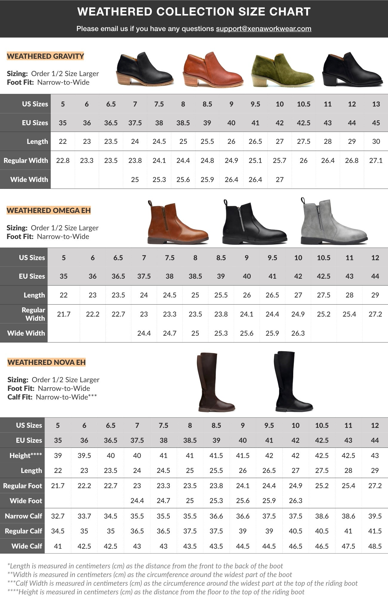 Weathered Collection from Xena Workwear   Size Chart for our Women's Safety Shoes and Boots