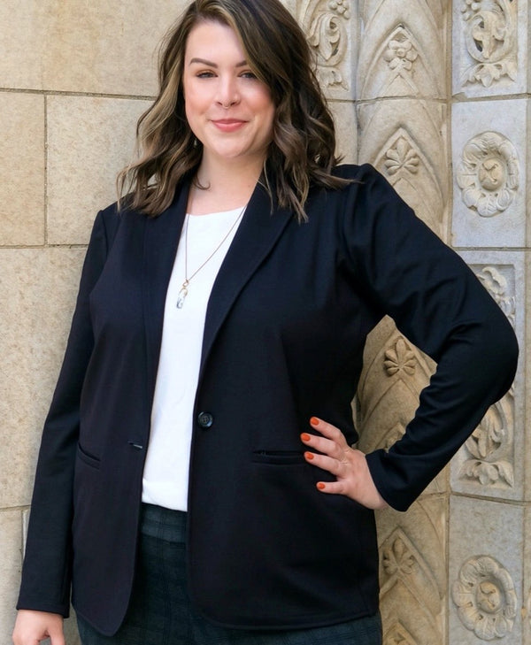 Women Functional Blazer in Sleek Black Fabric | Everywhere Blazer