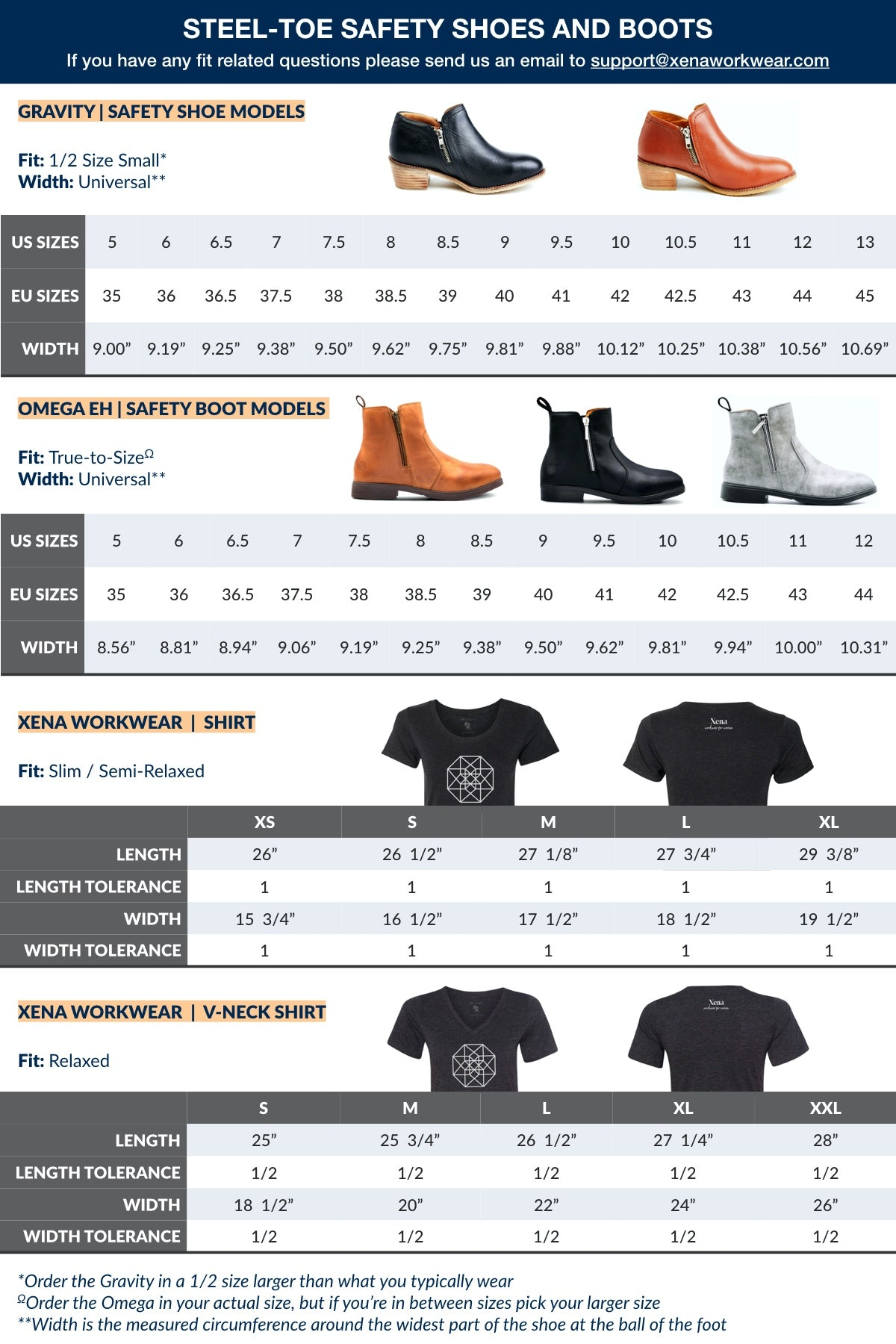 Xena Workwear Size Guide for Steel-Toe Safety Shoes, Booties, Boots, and Shirts Women's Size Guide