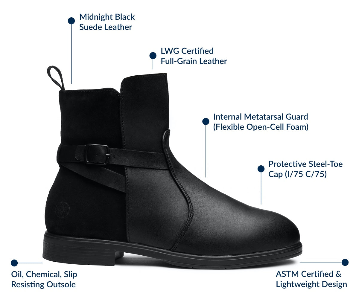 Xena Workwear Features & Benefits | Stylish Steel Toe Safety Shoes and Boots for Women