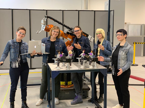 Mikell with colleagues at Veo Robotics – Veo Barbies