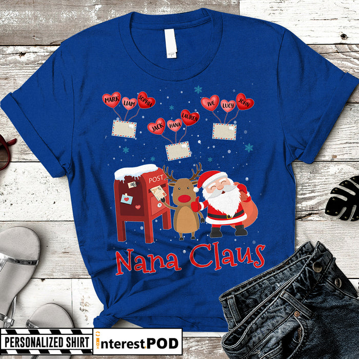 Personalized Christmas Gift for Grandma, Nana, Gigi, Letter to Nana Claus, Custom Nickname & Grandkid's Names Shirt - PT98 - HUTS