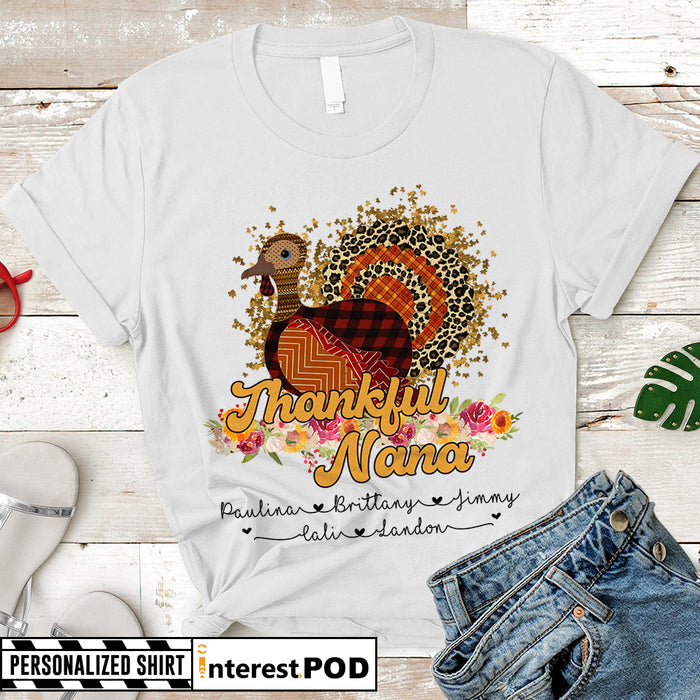 Personalized Thanksgiving Turkey Thankful NANA Shirts, Custom Grandma Gift T-ShirtI Custom Nickname and Grandkid's names - HN98 - PHTS