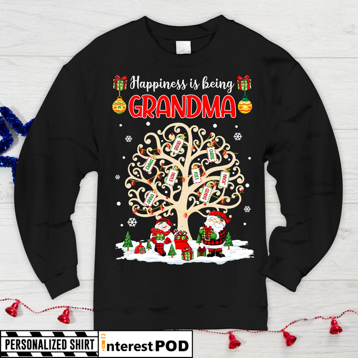 Grandma, Nana, Gigi Shirts - Happiness is being Grandma - Xmas Family Tree - HN98 - DO99