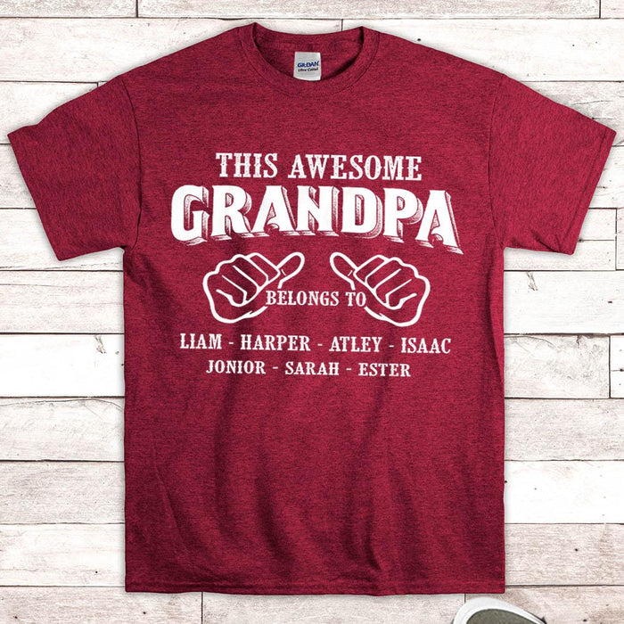 Personalized Gift for Grandpa, Papa, Daddy..., This Awesome Grandpa belongs to, Nickname & Grandkid's Names can be changed - PT98 - LIHD