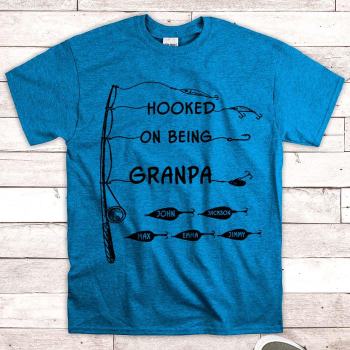 Gift For Dad, Grandpa, Papa Personalized Gift For Him- Hooked On Being Nickname & Grandkid's Name Can Be Changed- LIHD