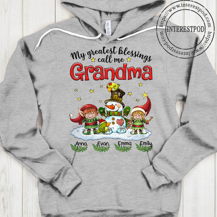 Grandma, Nana, Gigi Shirt - My Greatest Blessings Call Me Nana - Snowman & Little Elves - PT98 - DO99