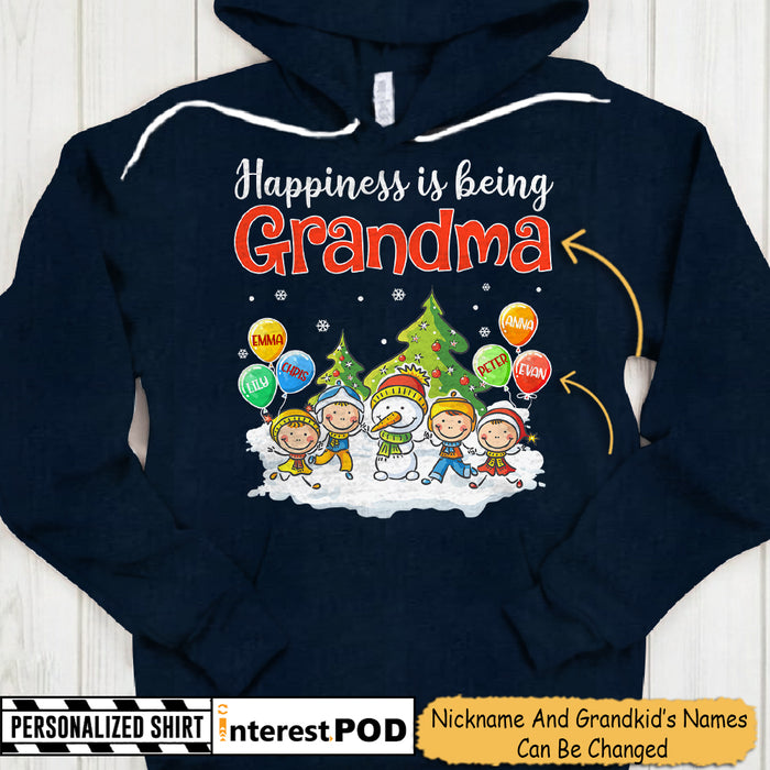 Happiness Is Being Grandma, Snowman & Grandkids With Balloons Shirt- PT98 - DO99